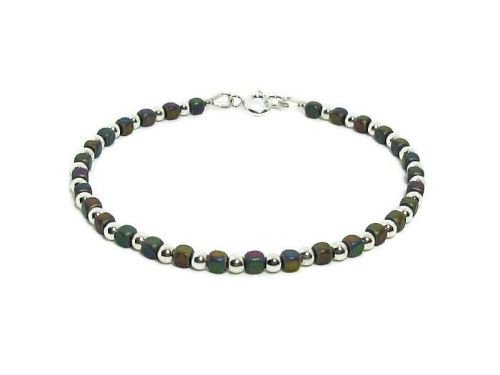Matte Rainbow Hematite Cubes Bracelet With Sterling Silver Beads